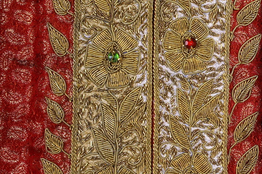 textile detail of beaded embroidery