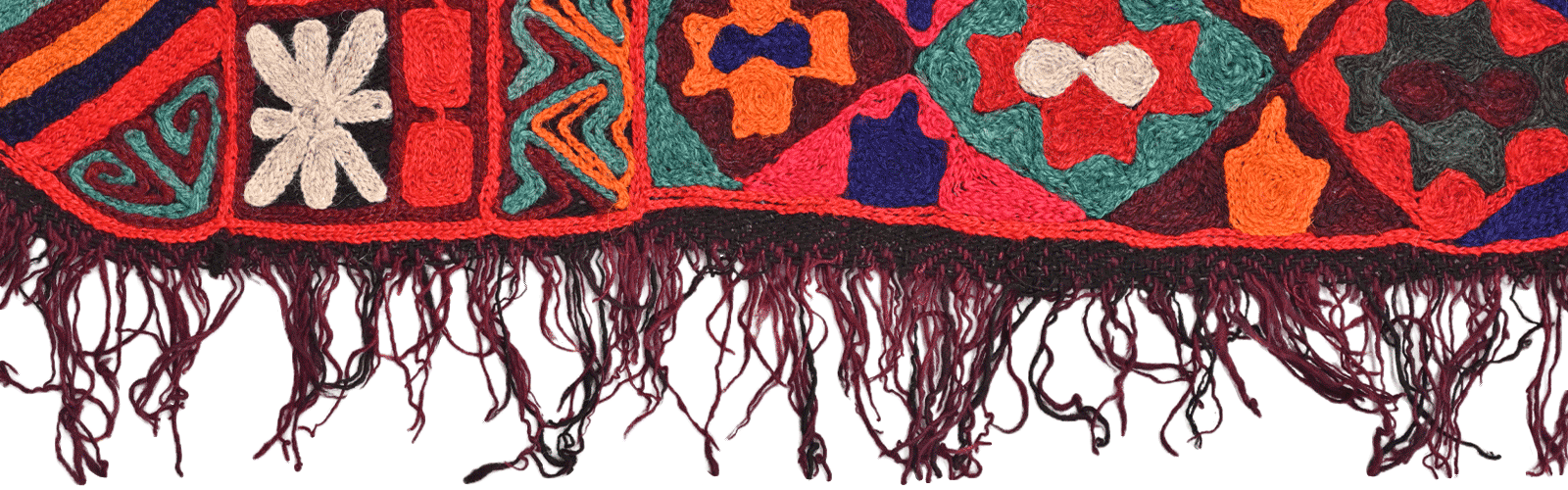 textile with tassles hanging down