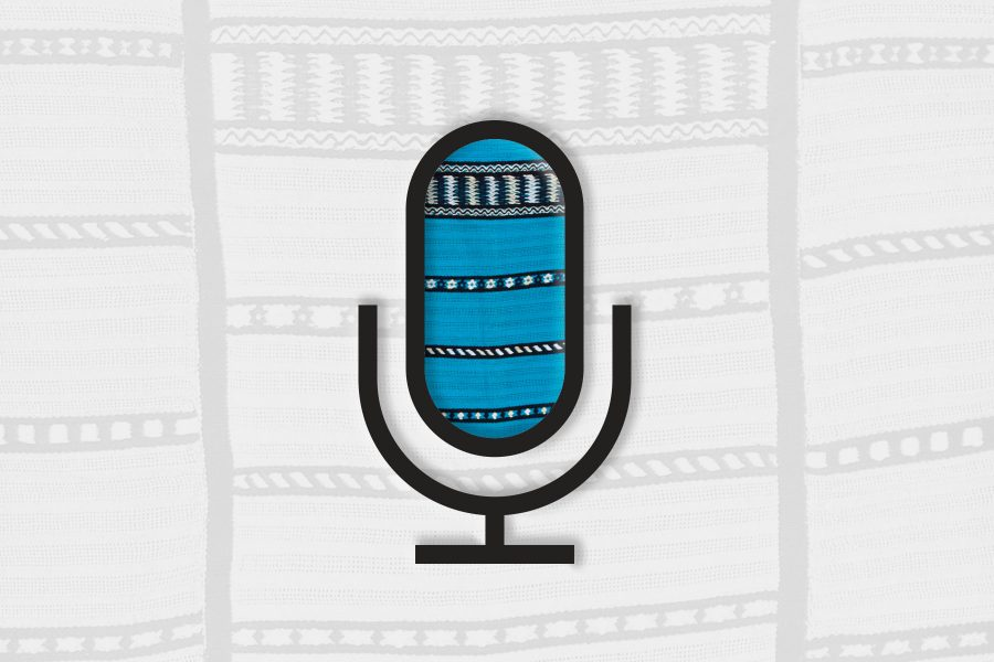 Microphone icon for radio with textile texture