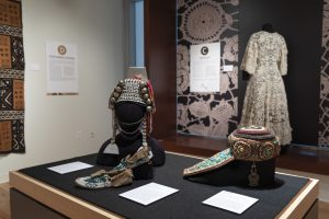 Installation view of textile objects