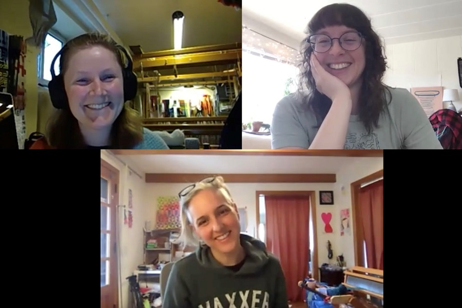 zoom screen grab of three separate women speaking from their homes and smiling/laughing.