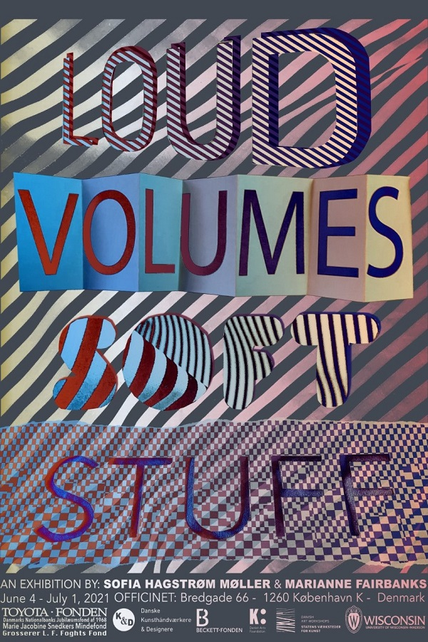 poster for Loud Volumes Soft Stuff features various patterns and stripes behind and through the words.