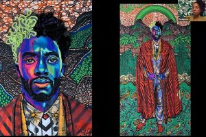 Zoom screen shot with two large fiber art pieces depicting Chadwick Boseman in multi-colored fabric