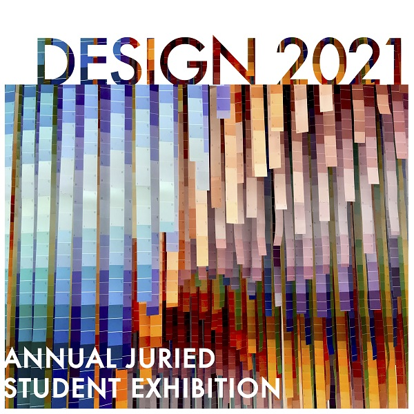 Logo for the Design 2021 exhibition featuring cascading paint chips