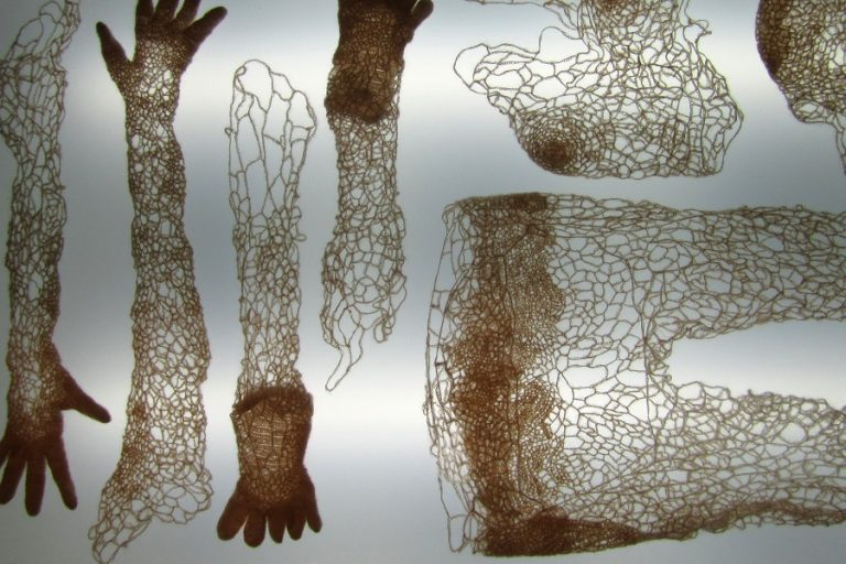 crocheted versions of hands, arms, legs, and feet on a backlit light board.