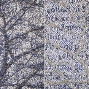 woven textile in various colors of blue. Split screen: one side depicts a tree, the other text.