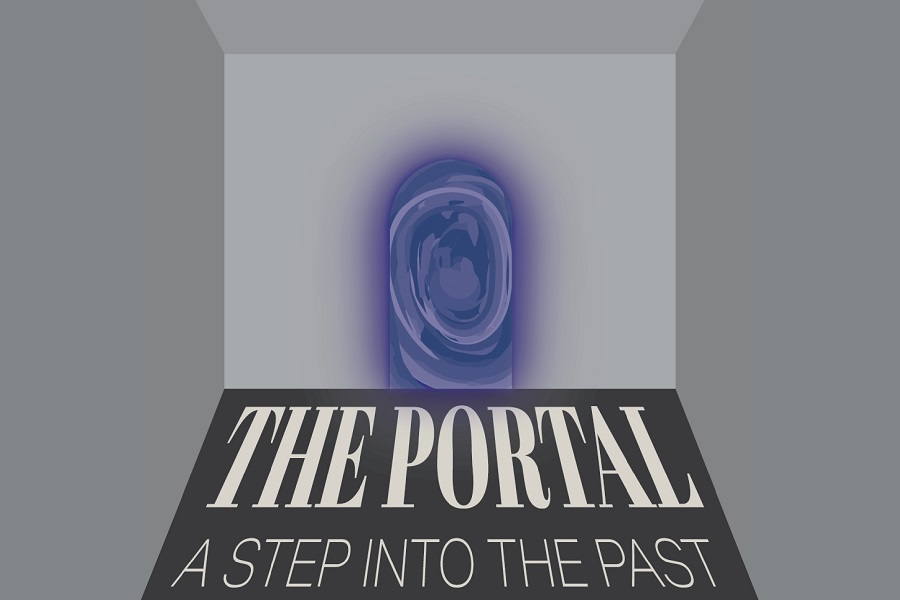 """Graphic logo for online exhibition featuring title of the exhibition """"The Portal: A Step into the Past"""" receding into the background and a swirling blue door."""