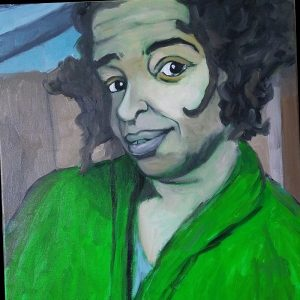 painted portrait of gianofer fields wearing a bright green shirt.