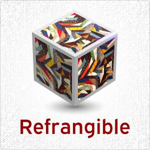 logo for Refrangible featuring 3-D cube made of quilt-like sections.