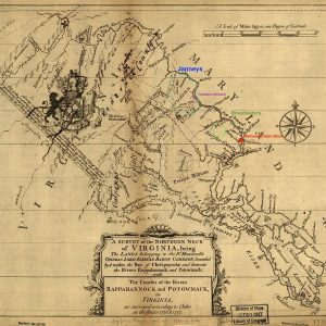 19th-century map of northern Virginia with brightly-colored labels of family names and store locations