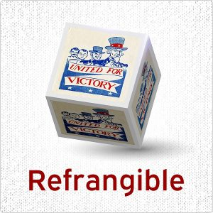 logo for episode 1 of refrangible podcast showing a WWII poster on the sides of a cube.