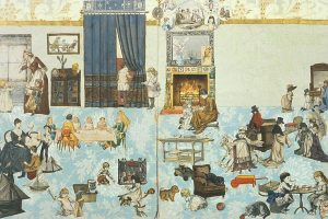 drawn image of the interior of a paper doll house from the 19th century with many people and details populating the scene of a living room.