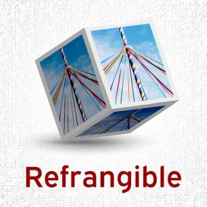 """3D cube with the word """"refrangible"""" at the bottom and an image on a maypole on each of its sides."""