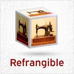 Logo for episode 3 of Refrangible podcast showing a sewing machine on the sides of a cube.