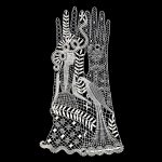 decorative lace form on a black background in the shape of a pair of gloves with the depiction of a woman holding a bird.