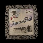 """pillow case with fringe with am American flag and eagle that reads """"America First"""""""