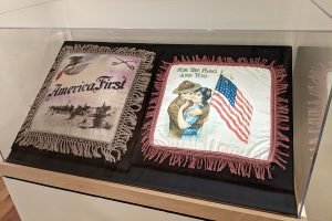 two American themed pillow cases in a vitrine