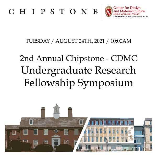 logo for Chipstone CDMC undergraduate symposium with 2 logos and 2 buildings and text of date/event/title information.
