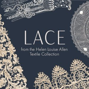 graphic with pieces of lace images and text in the middle in white on a dark blue background that reads